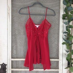 Victoria's Secret Red Lace / Silk Nightie M (LL5)